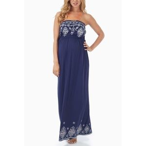 Love Tree Strapless Patterned Maxi Dress - Small